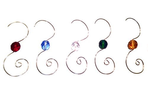 (Beaded Ornament Hangers Decorative Holiday Swirl SILVER WIRE with Faceted Glass Beads Set of 25 Hooks)
