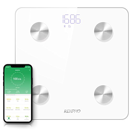 RENPHO Smart Body Fat Scale Bluetooth Digital Bathroom Scales Wireless Weight Scale BMI Scale Body Composition Monitor with Smartphone App 396 lbs - White