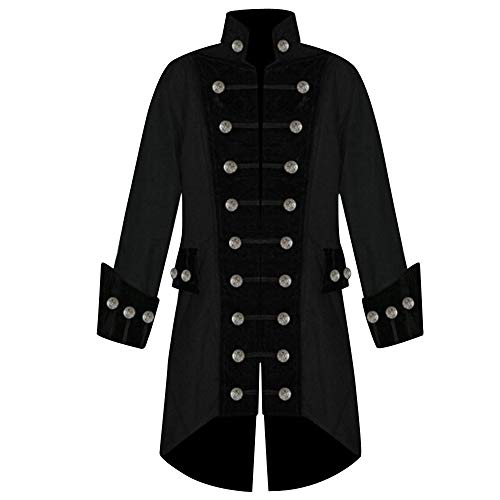 Kacowpper Christmas Punk Men Winter Warm Vintage Tailcoat Jacket Overcoat Outwear Buttons -