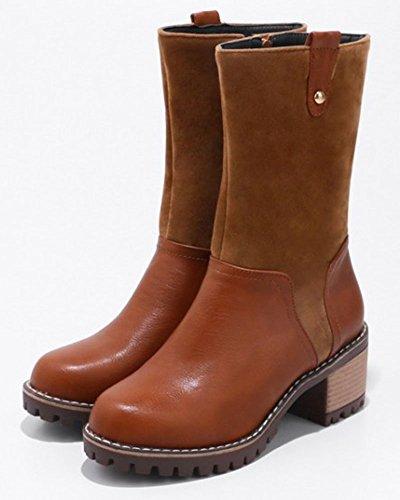 Aisun Womens Casual Bout Rond À Lintérieur Zip Up Bloc Mi-talon Mi-mollet Bottes Chaussures Avec Fermeture À Glissière Brun Foncé