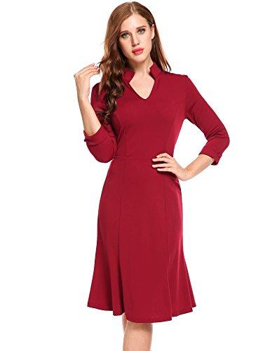 Wiggle Sheath (ACEVOG Women's Retro V-Neck 3/4 Sleeve Elastic Business Fishtail Office Mermaid Wiggle Sheath Bodycon Dress(WR,XL))