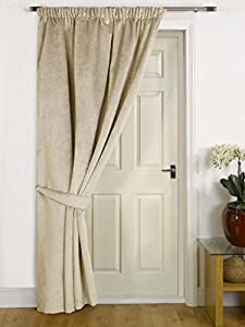 Brisbane  Natural Thermal DOOR Curtain - FAUX VELVET FABRIC- Reduces Heat Loss Prevents Draughts Saves Energy. & Brisbane