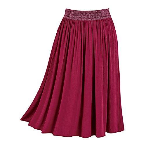 Women's Easy-Fit Crinkle Skirt, Pull-On with Embroidered Waist, Stretchy, Solid Colors, Wine, X-Large