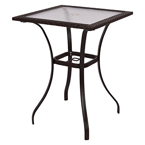 Tangkula Patio Table with Shower Glass Top, Rattan Wicker Square Bar Table Garden Outdoor Yard