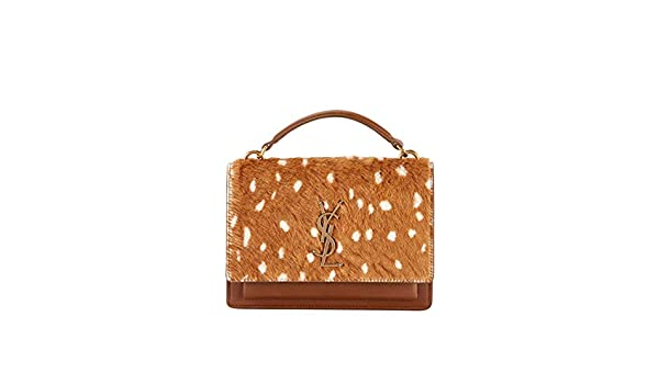 d8ba1a43a564 Saint Laurent Sunset Small Monogram YSL Deer-Print Shoulder Bag Made in  Italy  Handbags  Amazon.com
