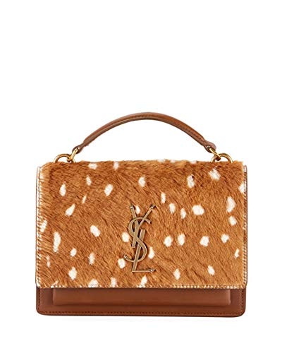 2660f239801f Image Unavailable. Image not available for. Color  Saint Laurent Sunset  Small Monogram YSL Deer-Print Shoulder Bag ...