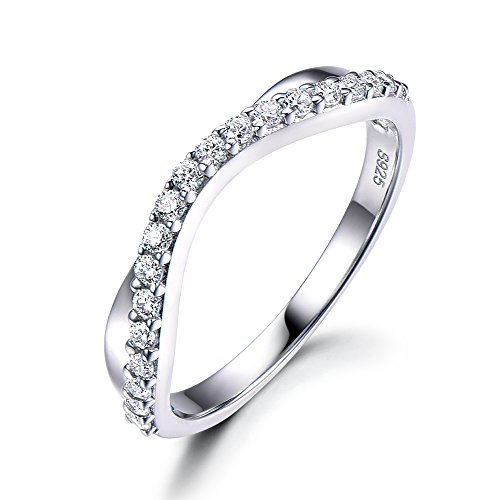 Solid 14k White Gold Half Eternity CZ Diamond Wedding Band Cubic Zirconia Promise Stacking Ring Curve by Milejewel Wedding Band