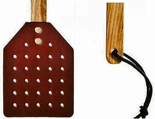 PrimeHomeProducts Heavy Duty Leather Fly Swatter- Made by Amish Craftsmen with Brown Leather Swatter and Durable Wooden Handle