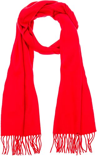 100% Cashmere Wool Scarf - Super Soft 12 Inch x 64.5 Inch Shawl Wrap w/Gift Box for Women and Men, Red