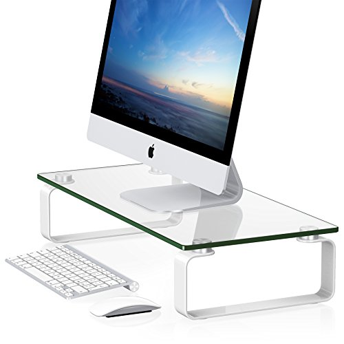 FITUEYES Tempered Glass Computer Monitor Riser 4.7'' High 23.6'' Save Space Desktop Stand for Xbox One/component/flat Screen TV-White DT106004GB Black & White Flat Screen