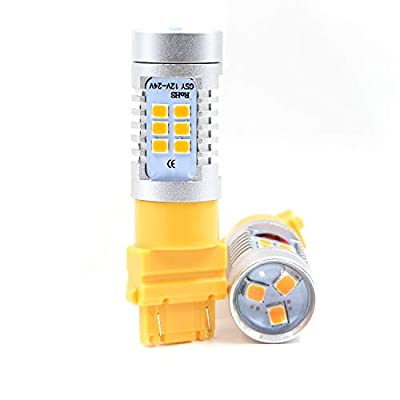 Extremely Bright Amber Yellow 21 LED 1260 Lumens PX Chips for 3156 3056 3356 3456 4156 3157 3047 3057 3357 3457 3757 4057 4111 4157 Amber Turn Signal LED Bulbs: Automotive