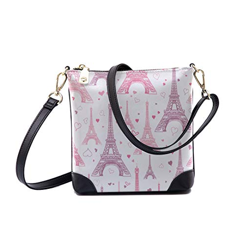 Shoulder Bag Pastel Pink Eifel Tower Paris For Women Bucket Crossbody