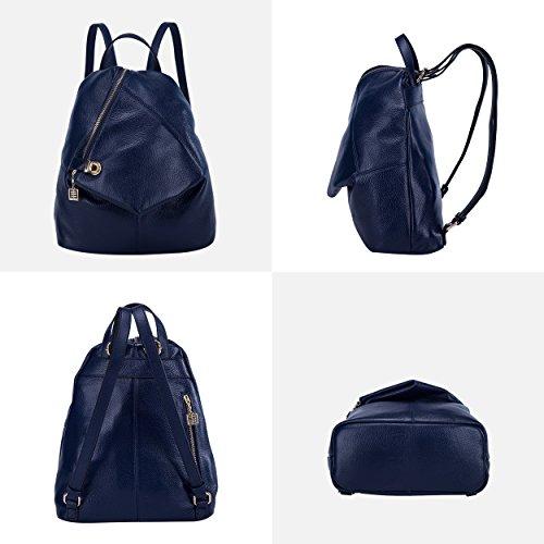 BOYATU Womens Leather Backpacks Ladies Travel Purse Satchel Shoulder School Bags(Royal bule) by BOYATU (Image #2)