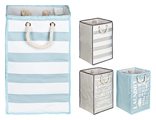 TOPP4u Wäschekorb in blau - weiß mit 45 L, 30x30x50 cm - 1 standfester, quadratischer Wäschesammler mit tollem Streifen-Design, faltbarer Wäschesack bzw. Wäschetonne
