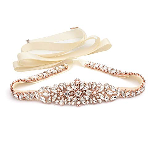 Yanstar Ivory Thin Full Length Rose Gold Bridal Wedding Belts Sash Rhinestone Belt Ivory Ribbon for Bridesmaid Prom Gowns
