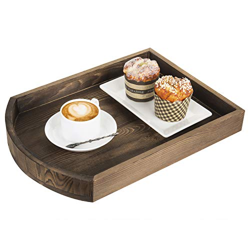 MyGift Rustic Burnt Wood Coffee Table Decorative Serving Tray, 16-Inch ()
