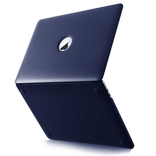 Kuzy - MacBook Pro 13 Case 2016, A1706 & A1708 NAVY BLUE LEATHER Hard Case (NEWEST VERSION - Release October 2016) with/without Touch Bar & Touch ID Shell Cover Leatherette 13-inch - NAVY BLUE (Macbook Pro Case 13 Leather)