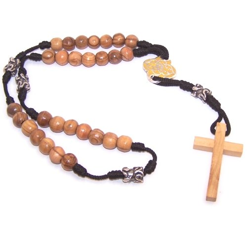 Olive wood with Silver tone and Yellow enamel beads Anglican Rosary ( 40cm or...