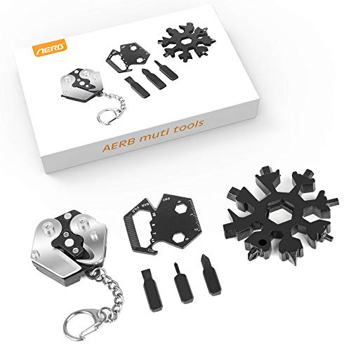 Aerb Snowflake Multi Tool Keychain Survival Gear Kit – Gadgets for Men / EDC Gift Set / Multitool + Screwdriver Kit + Wrench + Cutter + Bottle Opener, Great Gift for Men