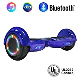 NHT 6.5' Hoverboard Electric Self Balancing Scooter Sidelights - UL2272 Certified Black, Blue, Pink, Red, White (Chrome Blue)