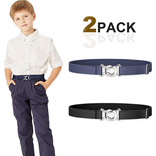 Kids Toddler Belt Elastic Stretch Adjustable Belt For Boys and Girls with Twisted Clasp Buckle 2 Pack By JASGOOD (I-black+blue, Suit for pants size below 26'')