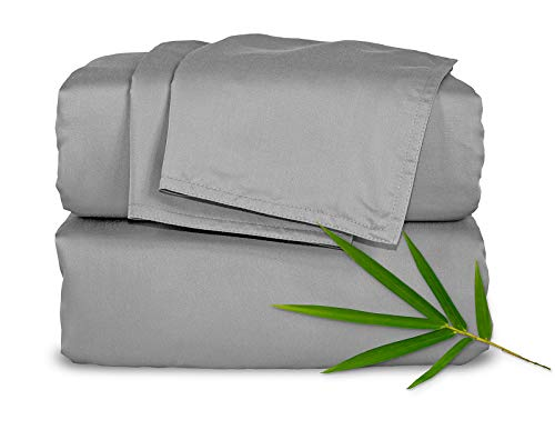 Pure Bamboo Sheets King 4pc Bed Sheet Set - 100% Bamboo Luxuriously Soft Bed Sheets (King, Stone Grey)