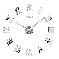 3D DIY Wall Clock, Timelike 1M Modern Frameless Large 3D DIY Wall Clock Kit Decoration Home for Living Room Bedroom (Silver)