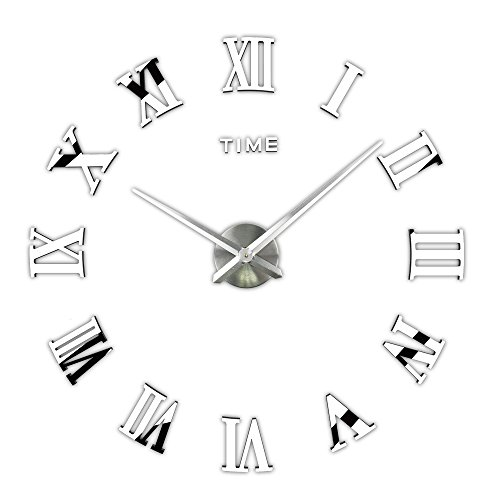 3D DIY Wall Clock, Timelike 1M Modern Frameless Large 3D DIY Wall Clock Kit Decoration Home for Living Room Bedroom (Silver) (Size Large Mirrors)