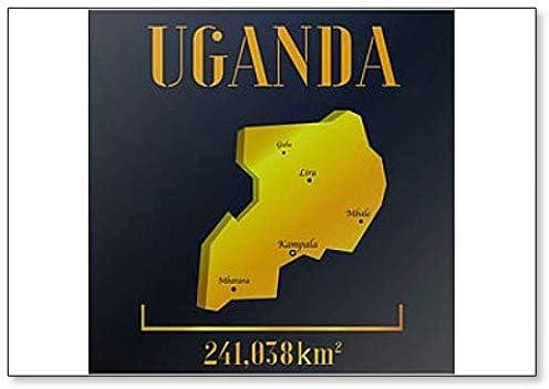 Uganda Calamita da frigorifero con sagoma di campagna motivo mappa del mondo realistico