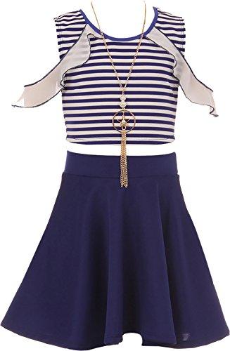 Big Girl Stripe Top Solid Bottom Easter Summer Skirt Clothing Kid Set Royal 8 JKS 2117 by BNY Corner
