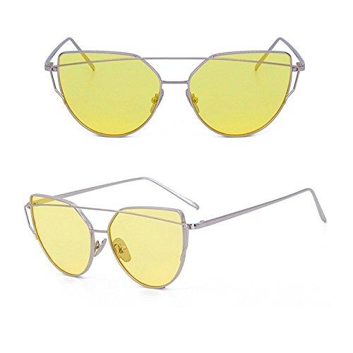 Para Gafas Oculos De De Gato La Mujer TIANLIANG04 La De La Plana De De Oro Metal Gafas Vendimia De El Sol Gafas Hembra De En Gery SILVER OCEAN YELLOW W Ojo De Reflectante Lente Espejo Rosa Oro Fww4z
