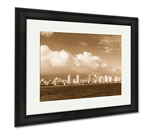 Ashley Framed Prints Honolulu City Skyline From Water, Modern Room Accent Piece, Sepia, 34x40 (frame size), Black Frame, - Marketplace Honolulu