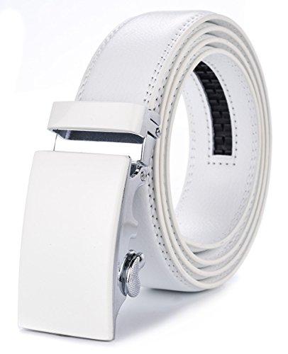 XHtang Men's Ratchet Belt White Plane Automatic Buckle 125CM