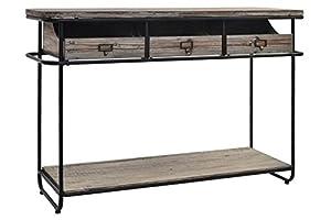 Indhouse Plat–Console Loft Style Industriel Vintage en métal et Bois