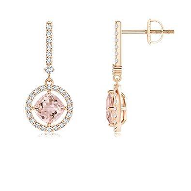 6346feeec Floating Cushion Morganite and Diamond Halo Drop Earrings in 14K Rose Gold  (5mm Morganite)
