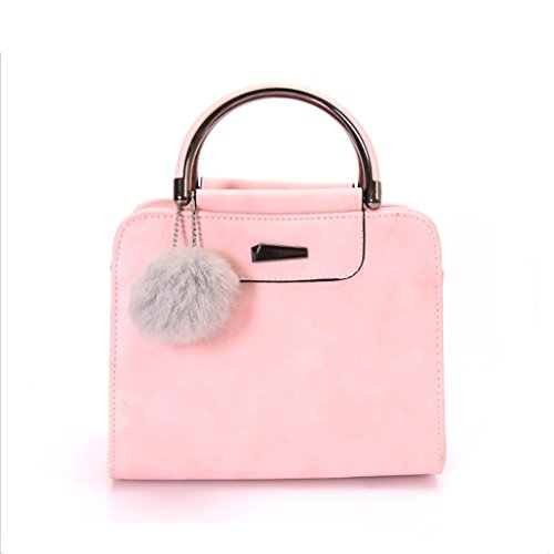 Tangbasi? Elegant Women Tote Shoulder Bags Faux Leather Handbag Purse with Pompom Ball Pink