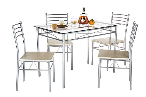 VECELO Dining Table with 4 Chairs Silver (Sets Table Breakfast Dining)