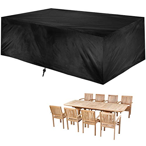 Patio Outdoor Cover, Outdoor Table Cover, Rectangular Garden Furniture Set Cover, Water and UV Resistant Lawn Dining Table Chairs Protector