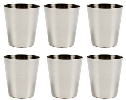 Stainless Steel Shot Glass, 2 Ounce - Set of 6 (Metal Shot Glass)