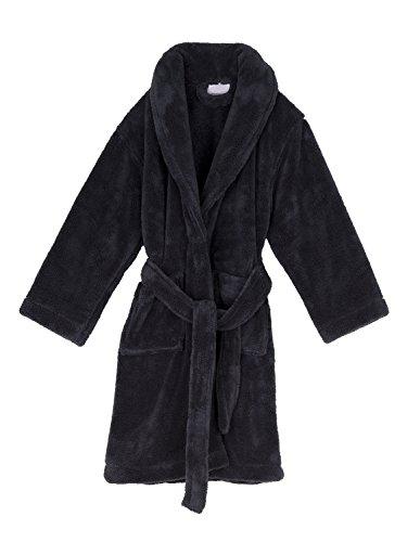 TowelSelections Big Boys' Robe, Kids Plush Shawl Fleece Bathrobe 8 Charcoal