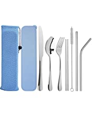 Travel Utensils, VELADEAL Reusable Utensils with Case, Portable Travel Camping Cutlery Set, 7-Piece Including Knife Fork Spoon Chopsticks Cleaning Brush Metal Straws, Stainless Steel Flatware Set