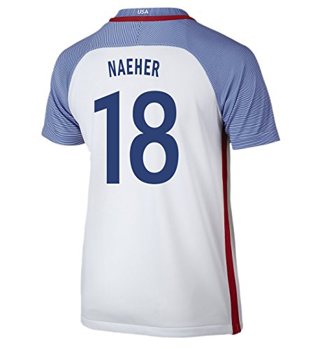 (Nike Naeher #18 USA Home Soccer Jersey Rio 2016 Olympics Youth. (YS) White)