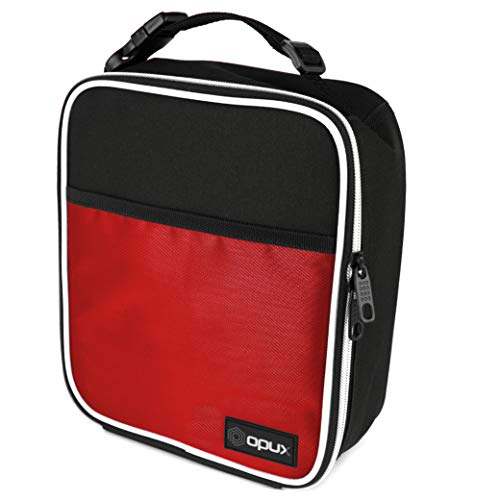 OPUX Premium Thermal Insulated Mini Lunch Bag | School Lunch Box For Boys, Girls, Kids, Adults | Soft Leakproof Liner | Compact Lunch Pail for Office (Red)