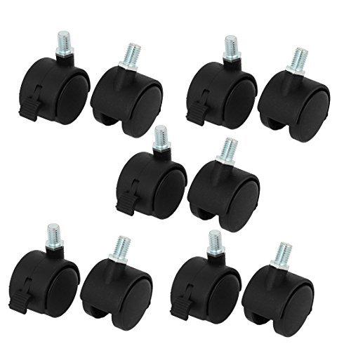 eDealMax Silla de oficina 1, 5 pulgadas Doble bloqueo de rotación de la rueda giratoria DE 10 piezas Negro: Amazon.com: Industrial & Scientific