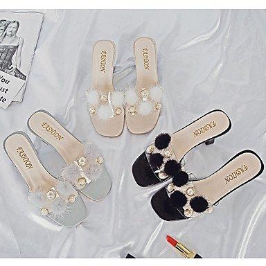 LvYuan Mujer Sandalias Confort Goma Verano Paseo Confort Tacón Robusto Negro Beige Gris Menos de 2'5 cms beige