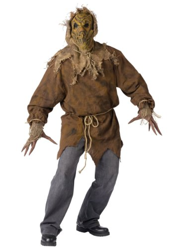 [Funworld Mens Horror Scarecrow Theme Party Fancy Halloween Costume, One Size] (Scarecrow Adult Plus Costumes)