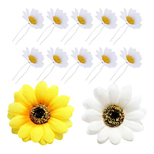 12 Pack Artificial Fake White Yellow Large Daisy Sunflower Hair Pins Alligator Clips Barrettes Clamps Wedding Bridal Hairstyle Hawaiian Party Silk Flower Headpiece Beach Holiday Decoration for -