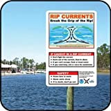 """12"""" X 18"""" Aluminum Rip Current Safety Sign"""