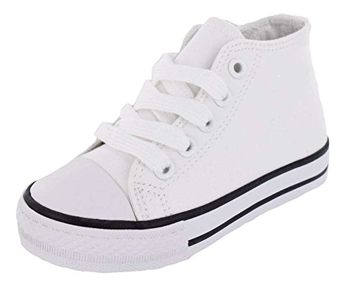 Cuteys White Canvas High Top Toddlers/Little Kids Shoes (10 M US Toddler) (Platinum High Tops compare prices)