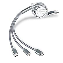 aceyoon Multi Port Charging Cable Cord 3ft Retractable 3 in 1 Lightning 8 Pin, USB 3.1 Type-C, Micro USB Multiple Retractable TPE Fast Charge for iPhone 8, X, 7Plus, iPad, Samsung Galaxy, One Plus, LG
